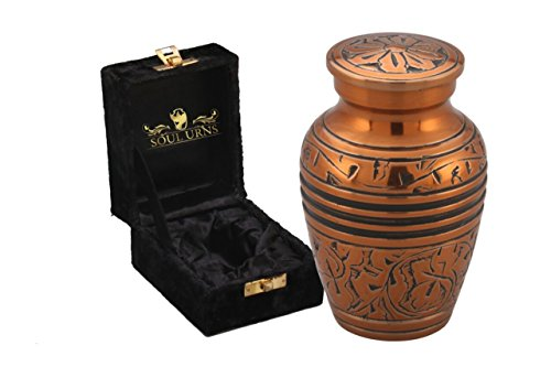 Funeral Keepsake Urn by SoulUrns - Copper Oak Keepsake Cremation Urn for Human Ashes as well as for Pets - NOT Intended for Full Cremation Ash Quantity