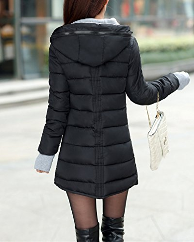 Doudoune Capuche D'hiver Parka Longue Femme Slim Noir Manteau Avec Veste qZn54v