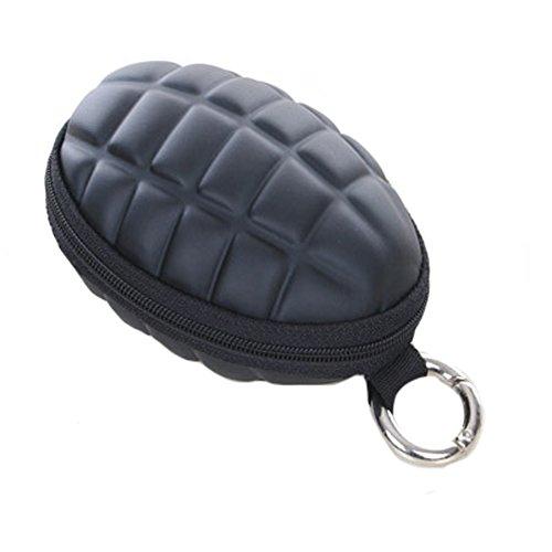 BIBITIME Black Grenade Coin Purse Keychain with Round
