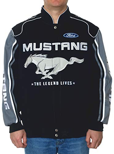 Ford Twill Jacket Mustang - Men's Ford Mustang Embroidered Cotton Twill Racing Style Jacket (2X, Black - Charcoal Gray)