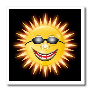 3dRose Smiling Sunshine a Happy Sunny Face Wearing Sunglasses with A Smile-Iron on Heat Transfer, 8 by 8