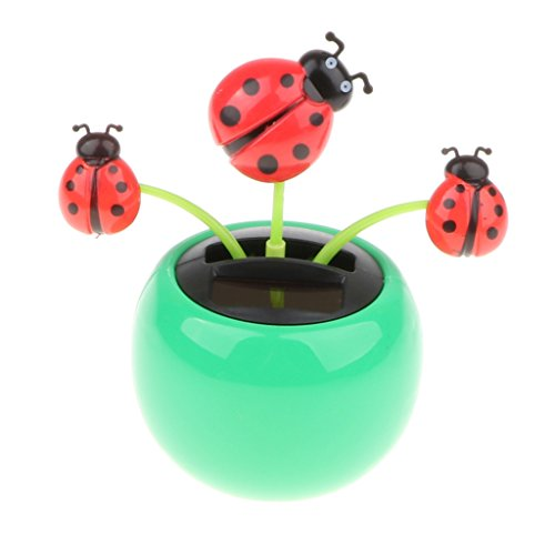 MagiDeal Solar Powered Flower Insect Dancing Doll Flip Flap Toy Home Decor Car Ornament Green Flowerpot, Red Ladybug