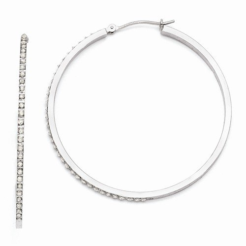 14k White Gold In & Out Diamond Fascination Large Round Hinged Hoop Earrings (.01 cttw.) (49mm x 2mm)