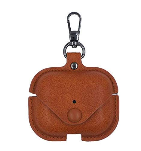 PrimeSELler Soft Case for Airpods pro Accessories Key Luxury Leather Earphone Cover with Keychain (airpod Not Included) (Brown)