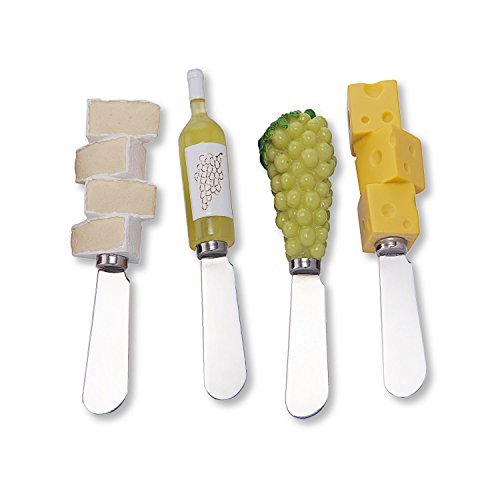 Mr. Spreader 4-Piece White Wine Party Resin Cheese Spreader, Assorted
