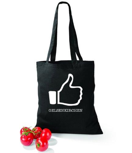 Artdiktat Baumwolltasche I like Gelsenkirchen Schwarz