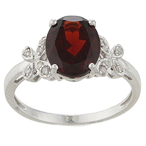 Instagems 10k White Gold Oval Garnet and Flower-Accent Diamond Ring