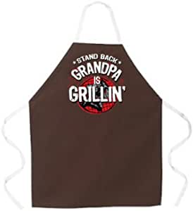 """Attitude Aprons Fully Adjustable """"Stand Back, Grandpa is Grillin"""" Apron, Brown"""
