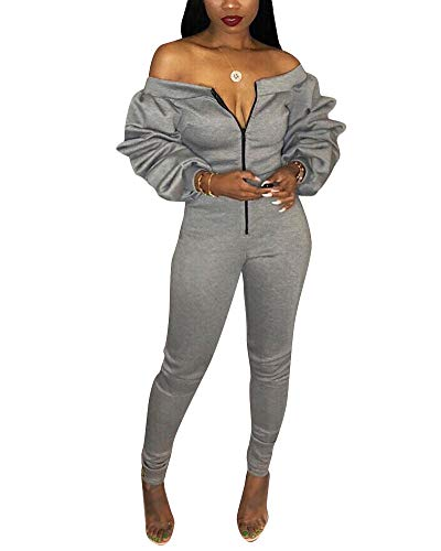 Women Sexy Off The Shoulder Puff Sleeve Bodycon Party Jumpsuit Romper Clubwear Gray 2XL