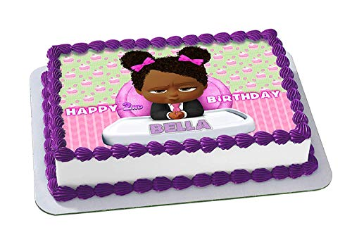 EdibleInkArt African American Girl Boss Baby Edible Cake Topper Personalized Birthday 1/4 Sheet Decoration Custom Sheet Party Birthday on Wafer Rice Paper