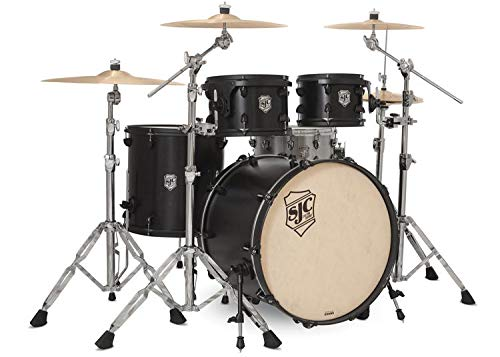 SJC Custom Drums Tour Series 4-piece Shell Pack - Black Satin Stain - Flat Black Hardware