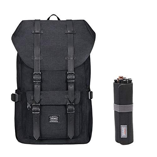 "KAUKKO Laptop Outdoor Backpack, Travel Hiking& Camping Rucksack Pack, Casual Large College School Daypack, Shoulder Book Bags Back Fits 15"" Laptop & Tablets (black1044-2)"