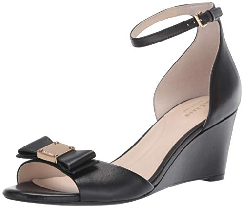 Cole Haan Women's TALI Grand Bow Wedge Sandal, Black Leather 5.5 B US