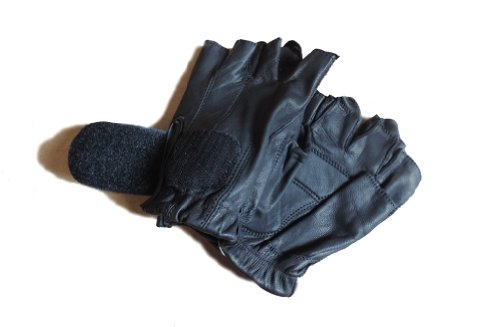 Leather Fingerless Black Motorcycle Gel Palm Gloves Large