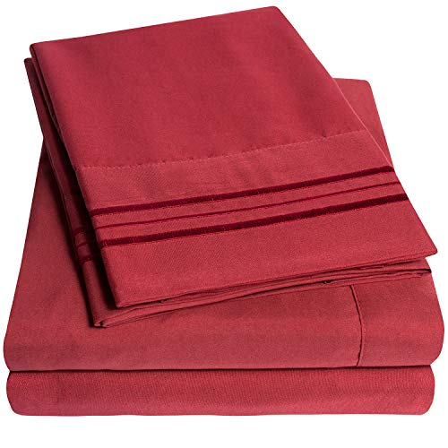 (1500 Supreme Collection Extra Soft California King Sheets Set, Burgundy - Luxury Bed Sheets Set With Deep Pocket Wrinkle Free Hypoallergenic Bedding, Over 40 Colors, California King Size,)