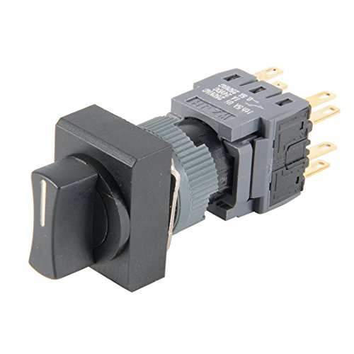 (uxcell Latching Rotary Selector Switch AC 250V 0.5A 16mm Panel Cutout Dia DPDT ON-OFF-ON 3 Position 1/0/2 Rect Head)