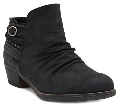 Rampage Women's Tyra Dress Block Heel Slouch Ankle Boot Ladies Side Zipper Bootie with Studs and Braid and Buckle Detail Black 9.5