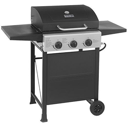 Master Cook Smart Space Living 30,000-BTU 3-Burner Patio Garden Stainless Steel Barbecue Grill BBQ Gas Grill with Two Foldable Shelves, Wheels Portable Master Cook