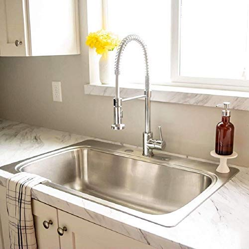 KAIMA Stainless Steel Spring Pull Down Sprayer Kitchen Faucet Single Handle Pull Down Sink Faucet Lead Free Modern Upgrade Chrome Finish ()