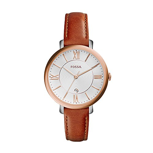 Fossil Women's ES3842 Jacqueline Rose Gold-Tone Stainless Steel Watch with Brown Leather - Leather Watch Band Fossil