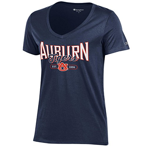 Champion NCAA Women's University Short Sleeve Tagless Lady's V-Neck Tee, Auburn Tigers, Medium