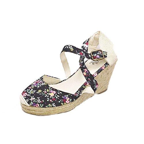 Sandalias / zapatos del talón de la lona de las mujeres medias de la cuña con el lazo de fijación Black