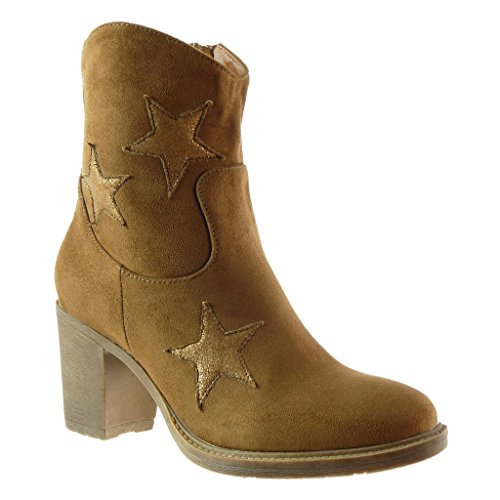 Angkorly - Zapatillas de Moda Botines santiags - cowboy - Vaquero mujer estrella Talón Tacón ancho alto 7.5 CM - plantilla Forrada de Piel Camel