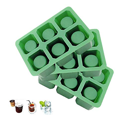 DiDaDi Triple 3 Pcs of 6 Cups Round Square Shape Ice Shot Glass Maker, Chocolate Mold, Jelly Ice Cube Tray. FDA Food Grade Silicone, Stylish Ice Mug Craft Tool in Sets Color: Green ()