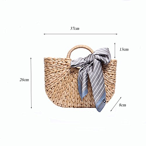 Straw Beach Ladies Silk White GAOQQ Bag Bag Handbag Striped Weave Scarf White Semicircle dEwqnx4