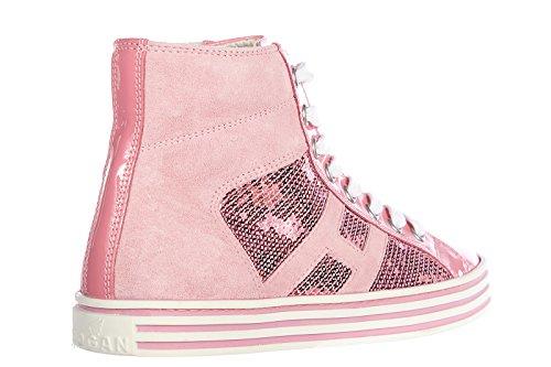 Hogan Rebel scarpe sneakers alte donna in camoscio nuove r141 rebel vintage rosa