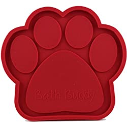 Bath Buddy for Dogs - The Original Dog Bath Toy - Makes Bath Time Easy, Just Spread Peanut Butter and Stick (Red)