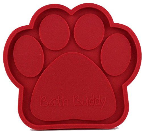 BathBuddy for Dogs - The Original Dog Bath Toy - Makes Bath Time Easy, Just Spread Peanut Butter and Stick (Red)
