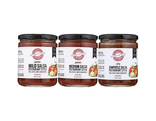 The Backyard Food Company, 3 Jar Variety Pack Authentic Restaurant Style Salsa, 1 Mild Salsa, 1 Medium Salsa and 1 Chipotle Salsa, 16 oz Jars