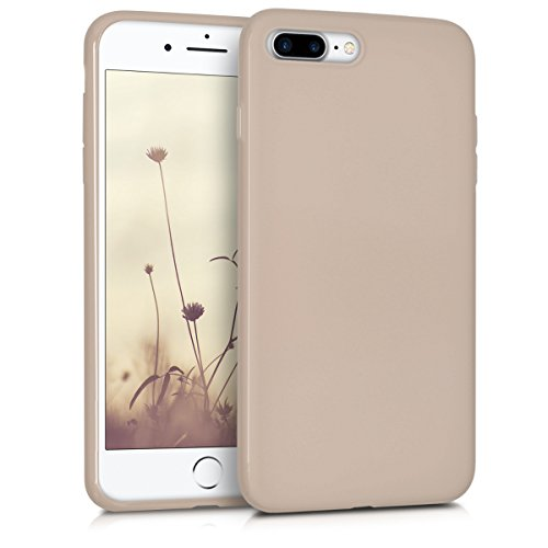 kwmobile TPU Silicone Case for Apple iPhone 7 Plus / 8 Plus - Soft Flexible Shock Absorbent Protective Phone Cover - Beige Matte