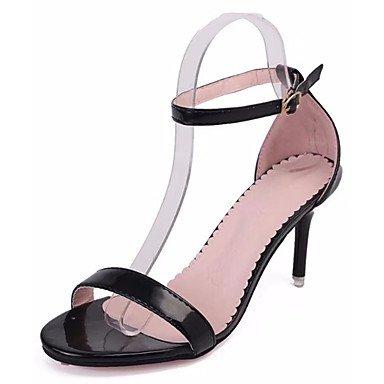 Heel Sandals Summer Women'S Marylight EU36 CN36 Walking Casual Dress White Black UK4 Soles Soles Pu Buckle US6 Flat Marylight Flat dFw7Iwq