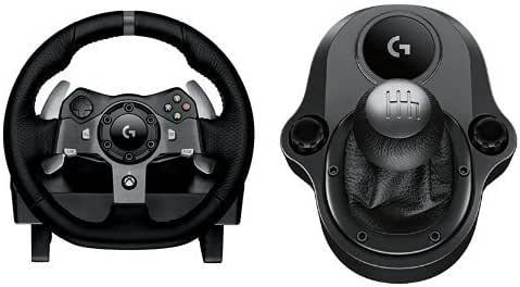Logitech G920 Driving Force Volante de Cuero de Carreras y Pedales + Palanca de Cambio, Force Feedback, Aluminio Anodizado, 6 Velocidades, Pedales Ajustables, Enchufe UE, Xbox One/PC/Mac, Negro