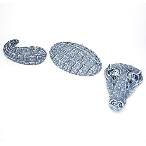 - Bits and Pieces - Alligator Garden Stones, 3 pc - Garden Décor for Lawn, Patio or Yard - Durable Polyresin Garden Stones