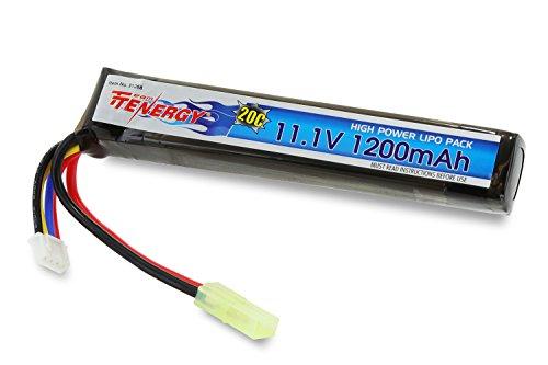 Tenergy LiPO 11.1V 1200mAh 20C Short Stick Battery Pack for AEG, Airsoft Guns Mini Tamiya Connector