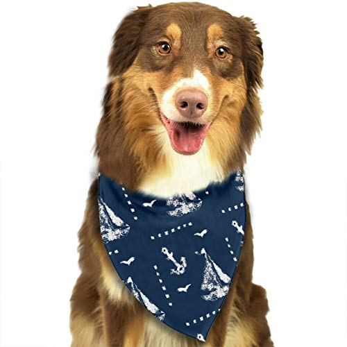 (NOWDIDA Bandana-Washable and Adjustable Pet Triangle Scarf Bibs Drawing Sailboat and Anchor Accessories for Small Medium Large Dogs/Cats)