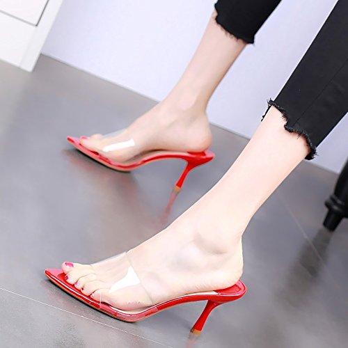 Cool Cm Zapatillas gules Verano Cristal Bien 8 Transparente Moda Y Sexy con La de Están KPHY En Zapatos De Zapatos Mujer De Tacon de qS0w04