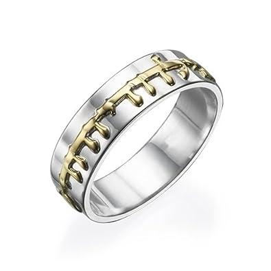Amazon.com: 14 K oro y plata de ley hebreo Pureza Ring ...