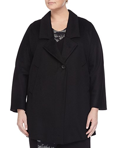 Marina Rinaldi Women's Nobile One-Button Wool Jacket 22W/31 Black