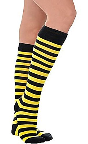 Mememall Bumble Bee Striped Socks Yellow Black Knee Highs Clown Adult Costume (Black And Yellow Striped Nylon Stockings)