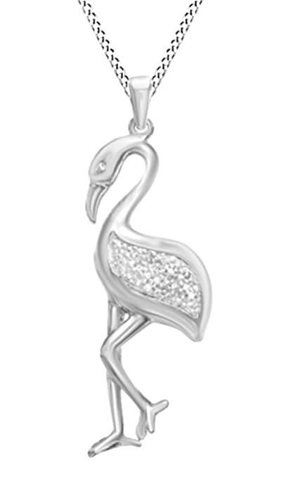 32627facf Amazon.com: Jewel Zone US Natural Diamond Accent Flamingo Pendant Necklace  in 14k Rose Gold Over Sterling Silver: Jewelry