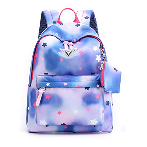 KIKISUM Womens Girly Backpack with Purse Star Pattern School Bags for College Student (Denim Star)