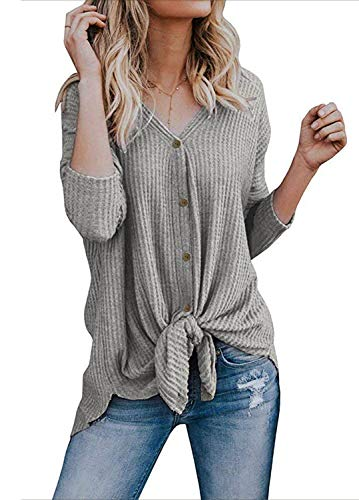 Womens Knit Tunic Blouse Long Sleeve Tie Knot Button Down Henley Top Loose Fitting Bat Wing Plain Shirt ()