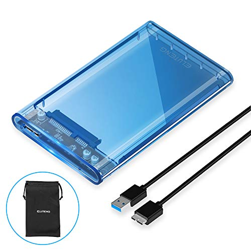 ELUTENG External Hard Drive Enclosure for 2.5 Inch 2T 9.5mm 7mm Portable SATA to USB 3.0 Adapter UASP HDD Case Tool-Free Compatible for Windows/XP / Linux and Mac, (Crystal Blue)