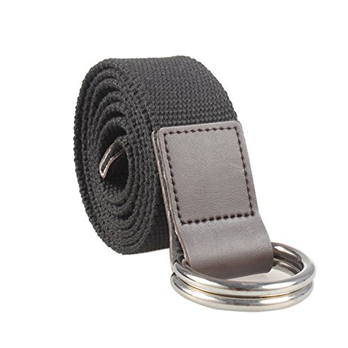 Double D-Ring Buckle Webbed Belts for Women,1.3 Inch Wide Solid Color Fashion Belt (M, Black) (Web Spider Belt Buckle)