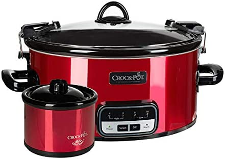 Crock-Pot 6 Quart Programmable On The GO Slow Cooker With Bonus Little Dipper Warmer Candy Red