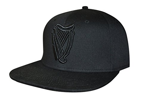 Baseball Guinness (Guinness Harp Logo Baseball Cap - Black Cotton Embroidered Flat Brim Hat)